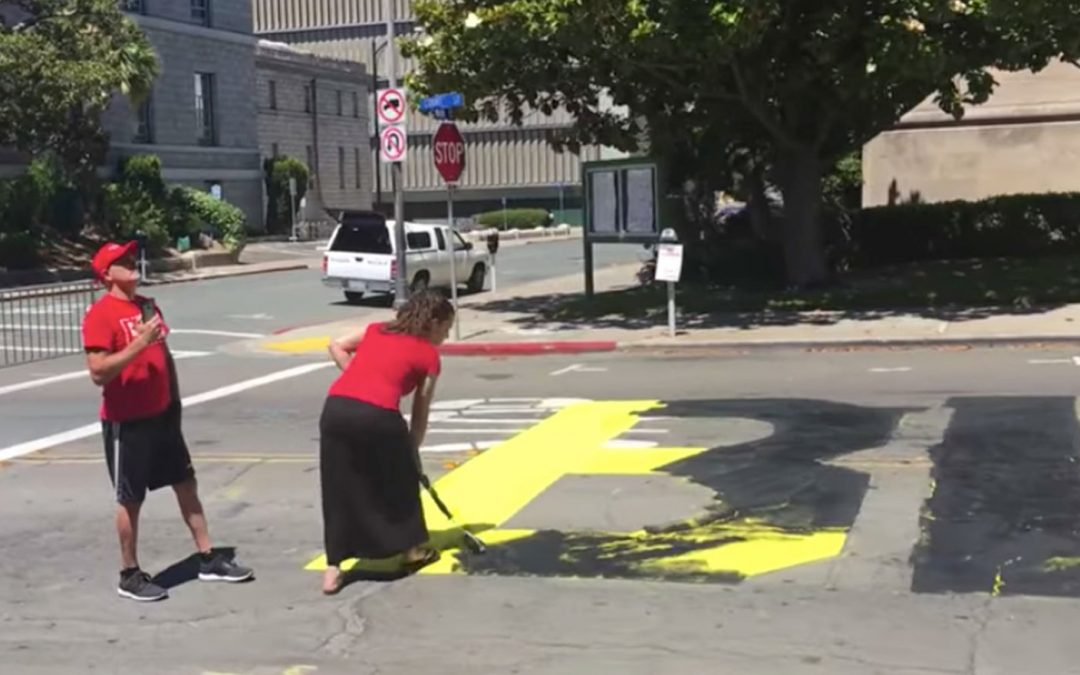 Black Lives Matter road painting vandalized by Trump supporters