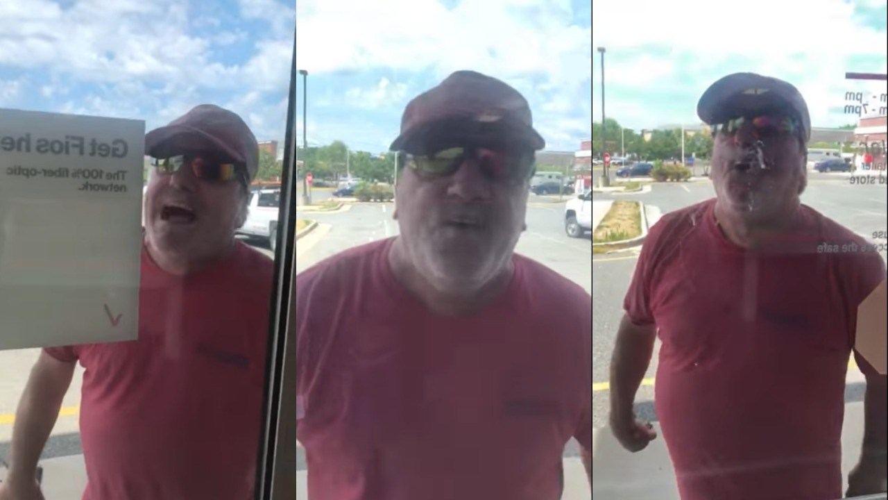 White man hollers racial slurs at Black Verizon representatives for keeping him out of the store